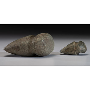 A Granite Full Grooved Axe AND 3/4 Grooved Axe, Longest 5-1/2 in.