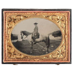 Quarter Plate Tintype of Robert E. Lee on Traveller, by A.H. Plecker, 1866