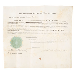 Republic of Texas Archive, Including Mirabeau B. Lamar and David G. Burnett Signed Appointment