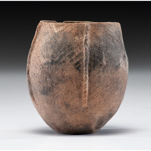 A Mississippian Pottery Jar, 5-1/4 x 4-1/2 in.