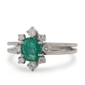 F&F Felger Emerald and Diamond Ring In Platinum