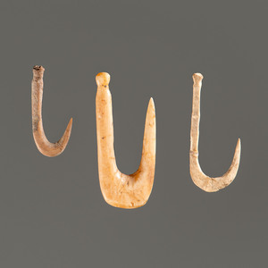 Three Bone Fish Hooks; Longest 1-3/8 in.