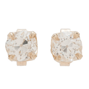 18 Karat Yellow Gold Old European Cut Diamond Stud Earrings