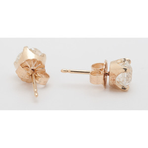 18 Karat Yellow Gold Old European Cut Diamond Stud Earrings