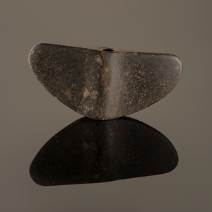 A Hardstone Semi-Lunar Winged Bannerstone, 5 in.