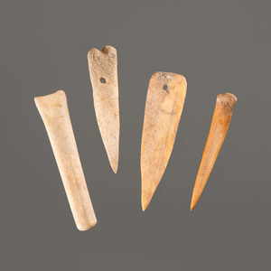 Two Bone Needles AND Two Bone Tools, Longest 3-1/4 in.