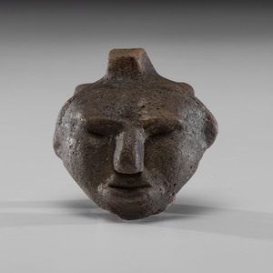 A Ceramic Hopewell Human Face Effigy, 2 in.