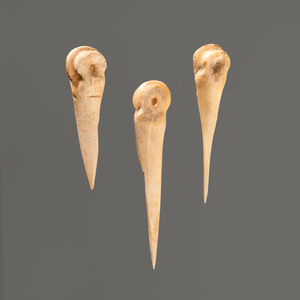 Three Split Cannon Bone Awls, Longest 3-1/2 in.