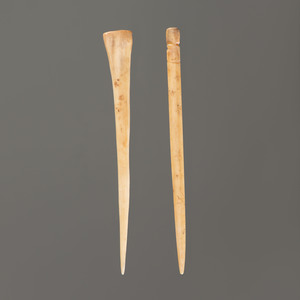Two Bone Hairpins, Longest 4-5/8 in.