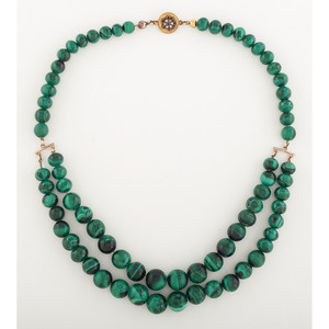 Victorian Malachite Bead Necklace