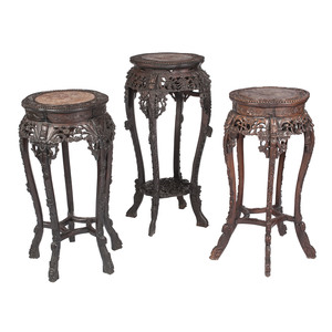Chinese Carved Hardwood Plant Stands with Marble-tops