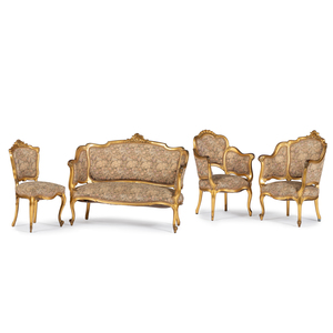 Louis XV-style Giltwood Parlor Suite