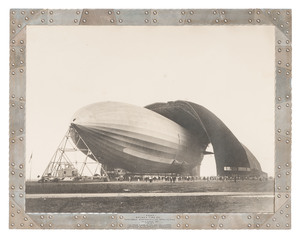 Margaret Bourke-White Photograph of the USS Akron with Frame Made from the Duralumin Used In Construction of the Airship