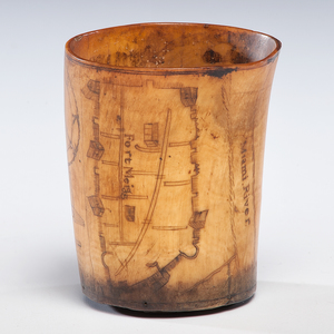 War of 1812 Horn Cup of Colonel William E. Boswell, 10th Kentucky Light Infantry, Depicting Fort Meigs