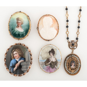 Assortment of Portrait Jewelry, Lot of Five