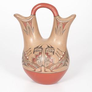Lela and Van Gutierrez (Santa Clara, 1895-1966/ 1870-1956) Polychrome Pottery Wedding Vase, From the Collection of Charles McNutt, Sr.