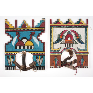 Pueblo Painted Dance Tabletas, From the Collection of Charles McNutt, Sr.