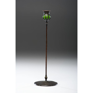 Tiffany Studios Bronze and Favrile Glass Candlestick