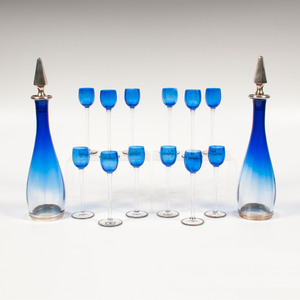French Sterling and Art Glass Cordial and Decanter Set