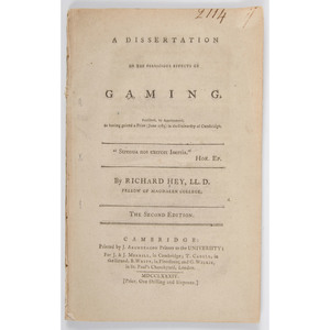 [Sporting - Duelling - Gaming]  A Dissertation on Dueling, 2nd Ed., Richard Hey, 1801, and A Dissertation on the Pernicious Effects of Gaming, Richard Hey, 2nd Ed.