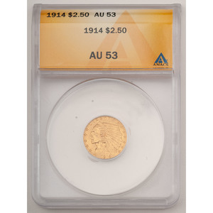 United States Indian Head Quarter Eagle 1914, ANACS AU53