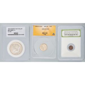 United States Half Dollar, Mercury Dime, and Roman Widow's Mite
