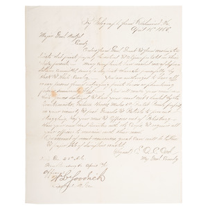 Directive From General Grant Following Lincoln's Assassination, 1865