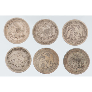United States Seated Liberty Half Dollars, Including 1885, Lot of Six