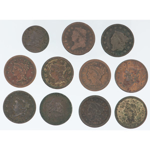 United States Large Cents and Half Cent, Lot of Eleven