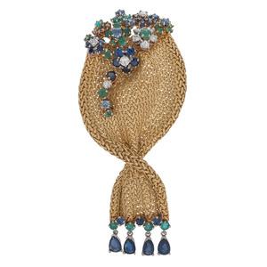 18 Karat Yellow Gold Diamond Sapphire and Emerald Brooch