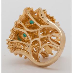 14 Karat Yellow Gold Lion Ring