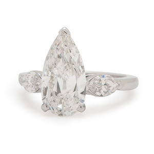 GIA Certified 2.83 Carat Pear Brilliant Cut Diamond Platinum Ring