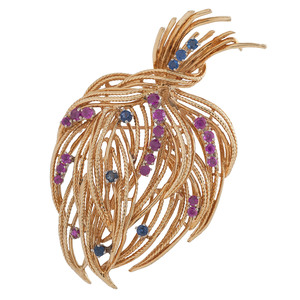 18 Karat Yellow Gold Ruby and Sapphire Brooch