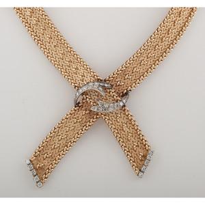 14 Karat Gold Ribbon Form Diamond Necklace