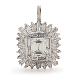 GIA Certified 2.75 Carat Emerald Cut Diamond Platinum Ring/Pendant
