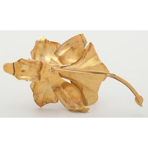 18 Karat Yellow Gold Large Orchid Brooch