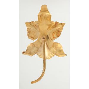 18 Karat Yellow Gold Orchid Brooch