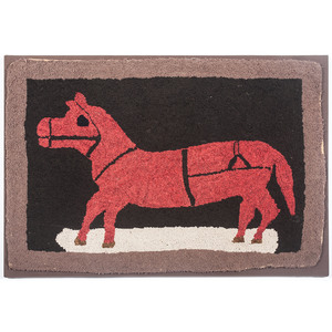 Hooked Rug with Standing Horse