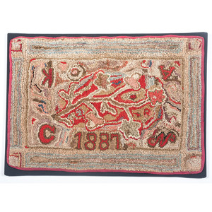 Floral Hooked Rug, Dated 1887