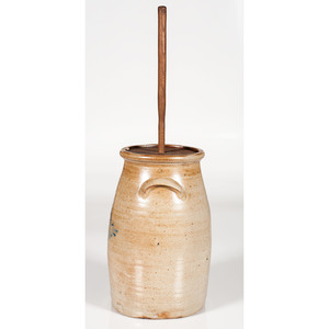 J. Fisher Stoneware Churn with Cobalt Decoration