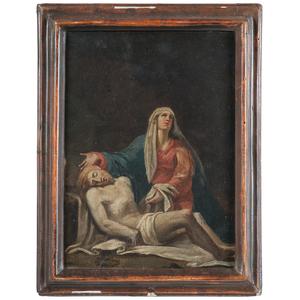 19th Century Italian School Pieta Signed B. Fignalo, Oil on Board
