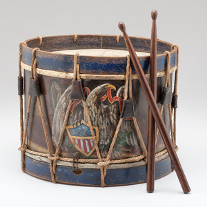 Painted Brass Bodied U.S. Military Drum with Sticks
