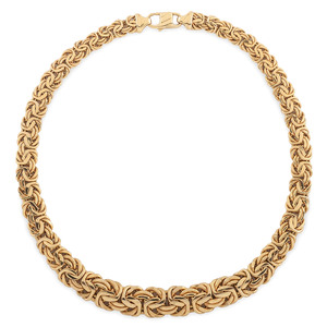 14 Karat Yellow Gold Byzantine Necklace