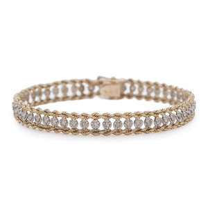 14 Karat Two-Tone Diamond Bracelet