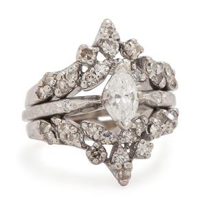 Orange Blossom 18 Karat White Gold Engagement Ring with Diamond Jacket PLUS