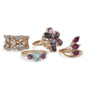 14 Karat Gold Diamond and Gemstone Rings