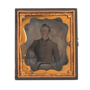 Sixth Plate Tintype of a Confederate Private