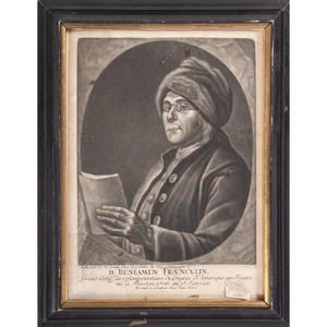 Benjamin Franklin, Original Engraved CN Cochin Portrait, 1777