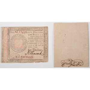 Continental Currency and Private Company Note, Lot of Two