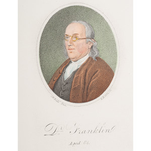 Benjamin Franklin, Small Engraved Color Portrait by D. Edwin
